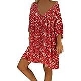 Forthery-Women T Shirt Dress Plus Size Floral Boho Summer Beach Swing Dress Sundress(Red,X-Large)