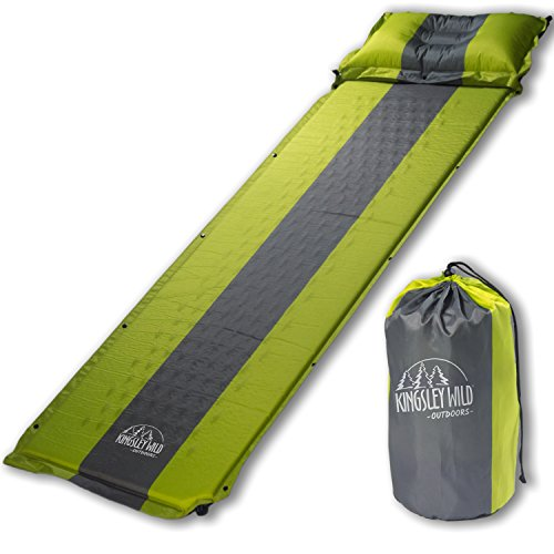 Kingsley Wild Outdoors Self Inflating Sleeping Pad and Pillow (Detachable)- Compact, lightweight, waterproof and portable- Great mat for camping, hiking, or backpacking - Compression Foam Technology