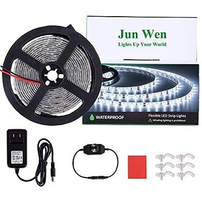 JUNWEN Waterproof LED Strip Lights Kit 16.4ft/5m Dimmable 6000K Daylights LED Tape Flexible Ribbon Lights 300 Units SMD 2835 Rope Lights 12V Power Supply for Home Kitchen Bar Clubs