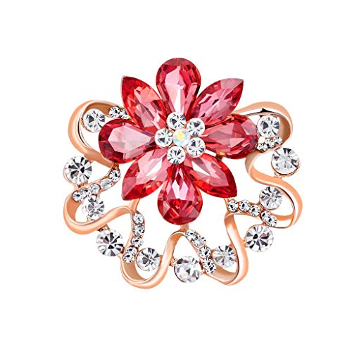Barhalk Exquisite Snowflake Crystal Brooches, Shiny Floral Breastpin Banquet Brooches Charm Corsage Women's Girls' Jewelry Accessories for Anniversary Birthday Party Carnival Graduation Prom Gifts from Barhalk