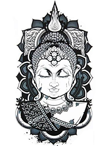 Novu Ink Serenity Buddha Temporary Tattoos | PACK OF 2 | Fake Tattoos | Art Design Transfers/Stickers | For Body, Arm, Leg etc | (22cm x 11cm) from Novu Ink