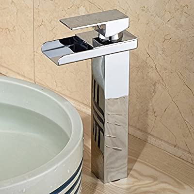 rozin Single Handle Waterfall Bathroom Vanity Sink Faucet with Extra Large Rectangular Spout Bathtub Faucets Chrome Lavatory Widespread Bath Tub Shower Mixer Taps Lavatory Ceramic Valve Included Vessel Sink Faucets Plumbing Fixtures