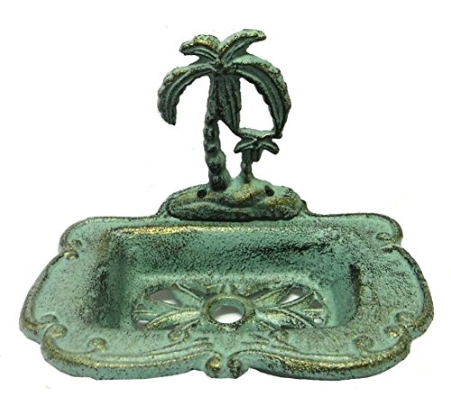 Palm Tropical Soap Dish - Chesapeake Bay Tropical Palm Tree Cast Iron Soap Dish - Verdigris & Gold Finish