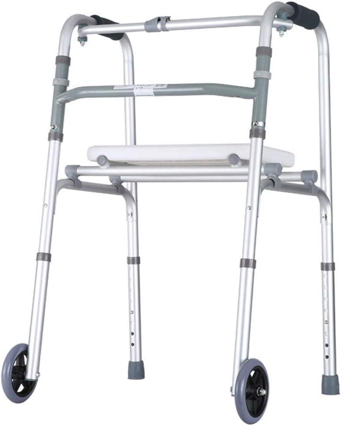 JHDPH3 Plegable Walker Andador con Ruedas y Asiento Ayuda motriz andadores Altura Ajustable for Ayudar a Caminar Ligero Andador for Personas Mayores
