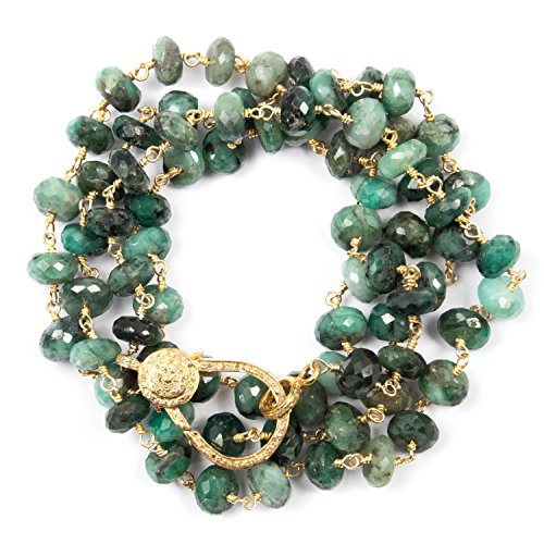 - Genuine Emerald Necklace with Diamond Lobster Claw Clasp - 37 Inches Long Handmade Necklace by Miller Mae Designs