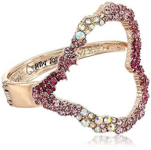 Betsey Womens Johnson Bracelet (Betsey Johnson Women's Pink Tonal Stone Heart Cuff Bracelets)
