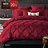 Luxury Duvet Cover Set Queen Size Red Romantic French Style with Folds as Holiday Gifts Wedding Gifts, Silky and Warm Sateen Hotel Quality Vintage Bedding Sets by LifeTB