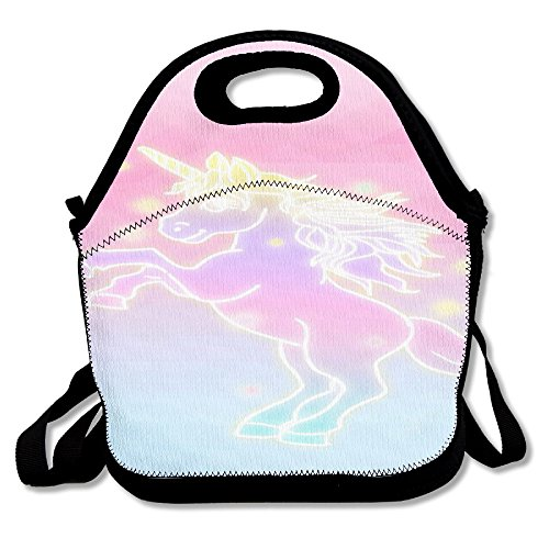Unicorn Horse Fashionable Insulated Thermos Polyester Backpack Women Men Kids Toddler Black Lunch Bag Tote Purse For Outdoor Office