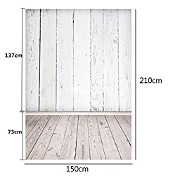 Mohoo 5X7ft Silk White Wood Floor Photography Backdrop Studio Prop Background
