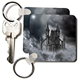 """3dRose A Dark Black Castle In the Clouds Key Chains, 2.25"""" x 2.25"""", Set of 2 (kc_172931_1)"""