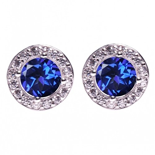 - SheColour 1.2 Ct Round 6mm Natural Tanzanite Blue Topaz 925 Steerling Silver Stud Earrings