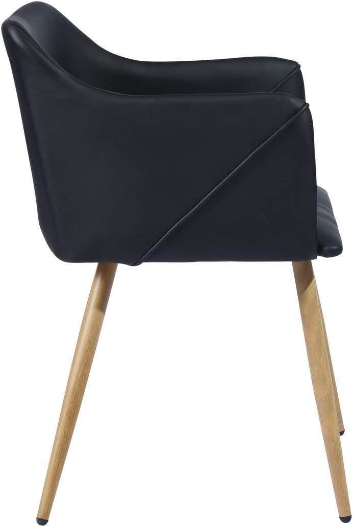 Furnish1 Lot de 2 Chaises de Style Contemporain//Chic et Scandinave avec Une Assise et Dossier recouverts de Simili Cuir Noir des Pieds en m/étal avec finiton Imitation ch/êne Clair.