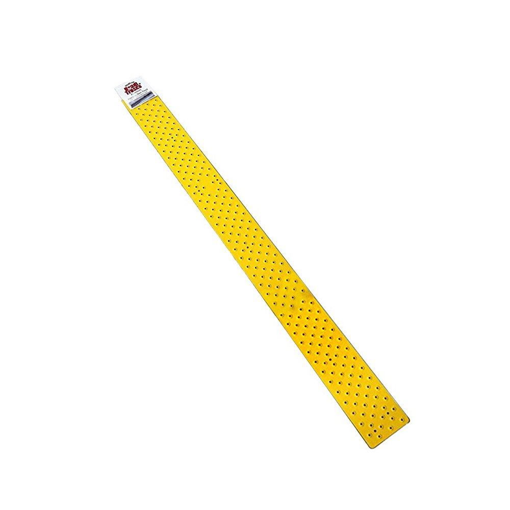 Handi-Treads Non Slip Aluminum Stair Tread, Powder Coated Safety Yellow, 3.75'' x 48'' with Color Matching Wood Screws, Each