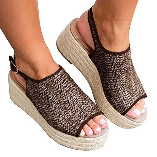 Athlefit Women's Espadrille Wedge Sandals Braided Jute Ankle Buckle Platform Sandals Size 10.5 Khaki