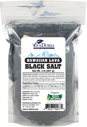 Viva Doria Hawaiian Black Lava Sea Salt (2 lb Fine Grain) (Hawaiian Black Sea Salt)