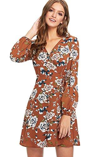 (Milumia Women's Vintage Floral Print Boho Split Wrap Slim Dress Large Multicolor-5)