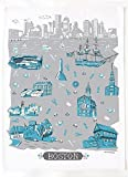 "Boston Themed Printed Tea Towel by Tammy Smith Design (Decorative Kitchen Dish Towel 18"" x 24"")"