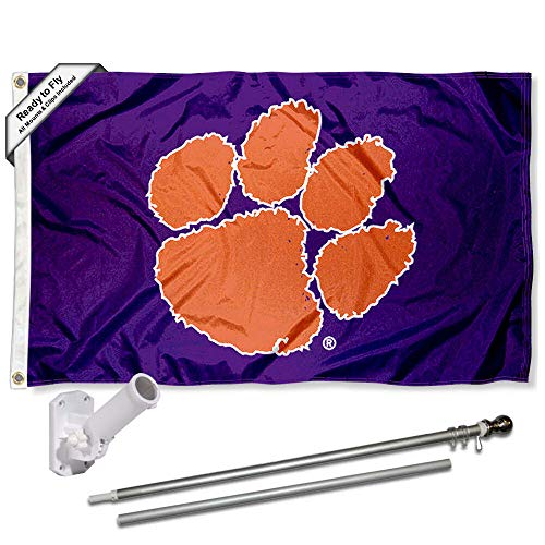 Clemson Tigers Purple Flag with Pole and Bracket Complete Set Clemson Tigers Purple Tiger