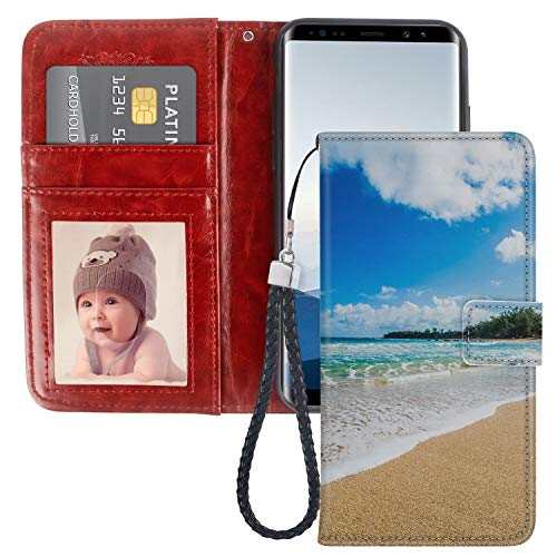 Wallet Case Fit Galaxy Note 8 (2017) [6.3 Inch] Beach in Kauai Hawaii with Coin Slot (Best Beaches In Kauai)