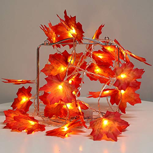 Thanksgiving Harvest Fall Garlands String Lights,Maple Leaf String Lights,20LED 7.2ft Battery Powered Harvest Fall Garlands String Light Thanksgiving Day,Autumn,Indoor,Outdoor,Patio,Garden,Red