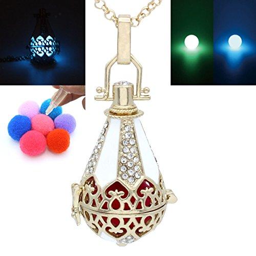 Locket Copper Cone Water Drop Teardrop Flower Rhinestone Necklace Aromatherapy Oil Fragrance Diffuser (Gold(Glow))
