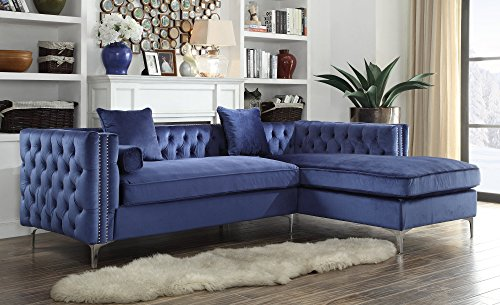 Iconic Home Da Vinci Tufted Silver Trim Navy Blue Velvet Right Facing Sectional Sofa with Silver Tone Metal Y-Legs