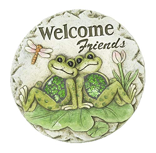 Spring Frogs on Lily Pads Garden Stepping Stone (Welcome Friends) ()