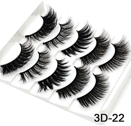Mink Eyelashes HandMade Makeup 3D Mink Lashes Natural False Eyelashes Long Eyelashes Extension 5 Pairs Faux Fake Lashes,3D-22