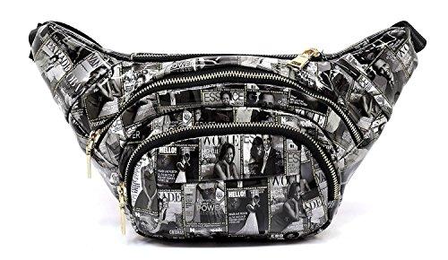 a Magazine Cover Collage Clutch Cross Body Bag Satchel Shoulder Bag (Q5-Black/White) ()