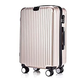 GLJJQMY Trolley Striped Luggage ABS PC Universal Wheel Luggage Luggage Trolley case (Color : Gold, Size : 24 inches)