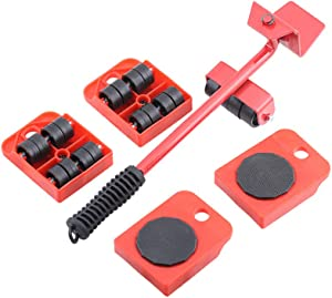 "Furniture Lifter and 4 pcs 3.9""x3.15"" Furniture Slides Kit, Heavy Furniture Move Roller Tools Max Up for 150KG/330LBS, 360 Degree Rotatable Pads, Easily Redesign and Rearrange Living Space Sofa Easy"
