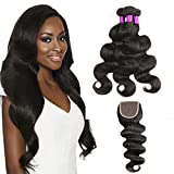 "Brazilian Body Wave Virgin Hair 3 Bundles with Closure Unprocessed 100% Human Hair Bundles with Free Part Lace Closure (12"" 14"" 16"" +10"" Closure)"
