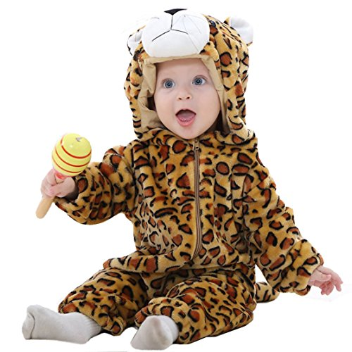 OSEPE Unisex-baby Flannel Romper Animal Onesie Pajamas Outfits Suit Leopard Size90 -