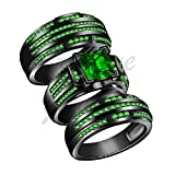 ArtLine Jewels 14K Black Gold Fn 2.85Ct Princess Green Emerald Engagement Bridal Wedding Ring Trio Set