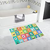 InterestPrint Cute Alphabet Learning Chart with Cartoon Animals Home Decor Non Slip Bath Rug Mats Absorbent Shower Rug for Bathroom Tub Bedroom Large Size 20 x 32 Inches