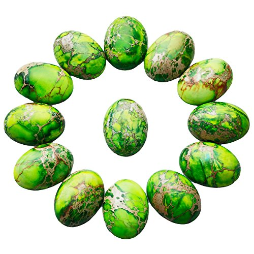 - SUNYIK Grass Green Oval Stone Cabochons Flatback Semi-Precious CAB for Jewelry Making,Sea Sediment Jasper,18x25mm,Pack of 10