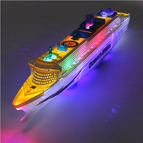 Ocean Liner Ship (Ocean Liner Flash LED cruise ship toy Boat Racing Electric Toy Lights Sounds Kid Gift)