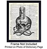 Skull, Snake and Hourglass Wall Art Print on Dictionary Photo - Ready to Frame (8x10) Vintage Photo - Great Gift and Chic Home Decor - Steampunk Goth