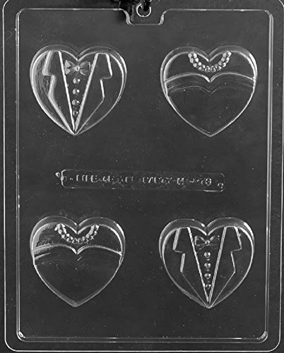 Grandmama's Goodies W073 Wedding Bride Groom Heart Oreo Cookie Chocolate Candy Soap Mold with Exclusive Molding Instructions