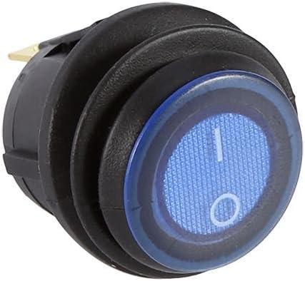 Commutateur de culbuteur de la voiture 12V 16A LED interrupteur rond illumin/é de lumi/ère bleue de commutateur rond SPST sur la goupille de contr/ôle 3