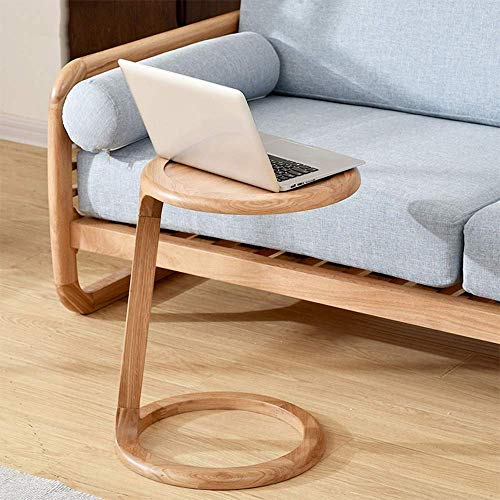 Jazi Shelf Laptop Table Simple Modern Solid Wood Side Table Oak Treatment Personality Small Round Table 40.5&Times;55Cm Easy to Assemble Drop-Leaf Table,1