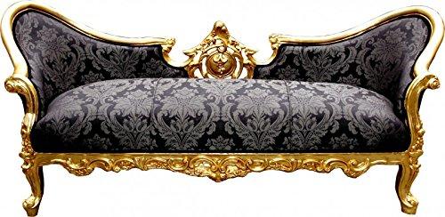 Casa Padrino Barock Sofa Vampire Schwarz Muster / Gold - Möbel