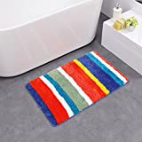 HEBE Non slip Bathroom Shower Rug Soft Microfiber Bath Rugs Floor Mat for Kids Bathroom Absorbent Machine Washable(20''x32'', rainbow)