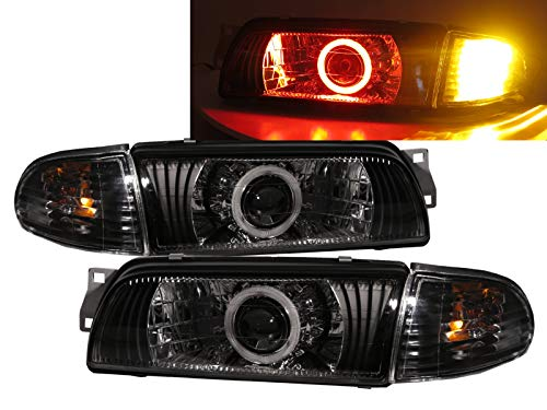 CABI Mirage 1991 1995 Fourth generation - Sedan 4D Red COB Projector Headlight Headlamp for Mitsubishi ()