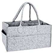 Baby Diaper Caddy HBlife Nursery Storage Bin Portable Diaper Organizer With Changeable Compartments for Newborn Registry Must Haves Baby Shower Gift Mother Day's Gift (Grey)