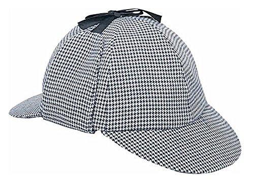Robert Downey Jr Sherlock Holmes Costume (Rubie's Sherlock Holmes Deerstalker Hat Black/White Houndstooth- Adult - Large)