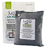 MOSO NATURAL Air Purifying Bag. Bamboo Charcoal Air Freshener, Deodorizer, Odor Eliminator, Odor Absorber for Kitchens and Bedrooms. 500g Charcoal Color