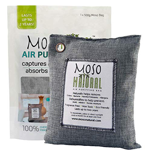 MOSO NATURAL Air Purifying Bag 500g. Odor Eliminator, Odor Absorber for Kitchens and Bedrooms. Charcoal Color