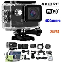 Action Camera ,AKEDRE® 4k 24FPS Ultra HD Wifi 2.0 Inch 170°wide Angle Lens Waterproof Car DVR Sports Dv Outdoor Diving Helmet Bicycle Motorcycle Camcorder-Black