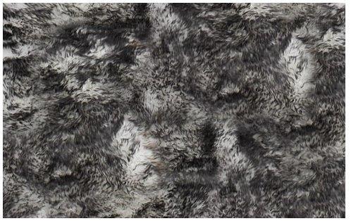 Super Soft Faux Sheepskin Silky Shag Rug 6 x9 , Black Tips